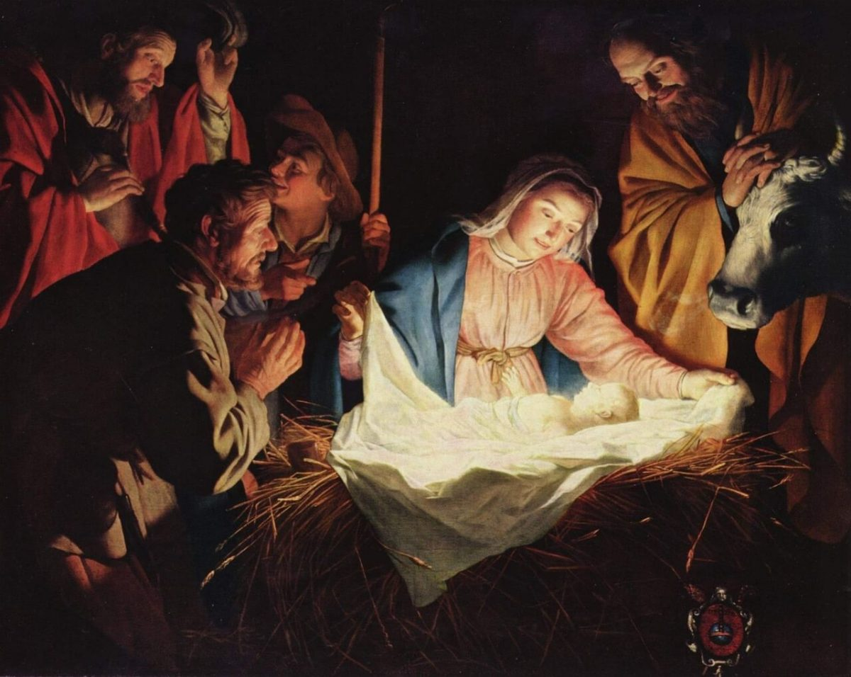 Nativity Jesus in a manger painting