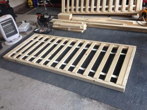 DIY Sofabed frame base being constructed