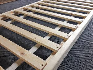 Close-up of DIY sofabed slatted frame