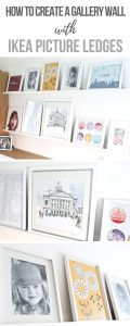 Gallery Wall Picture Ledge Ideas How to create a gallery wall with Ikea Mosslanda Picture Ledges_ Display all your favourite prints, photos and pictures easily with a picture ledge. You can swap and move them easily. #Gallery #Wall #Pictures #Wallart #Prints
