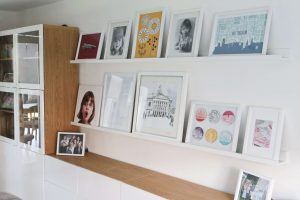 Finished Gallery wall using Ikea Mosslanda Picture ledges