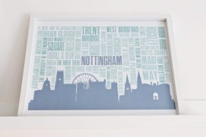DIY Nottingham Landmarks poster Finished Gallery wall using Ikea Mosslanda Picture ledges