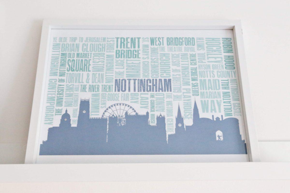 DIY Nottingham Landmarks poster Finished Gallery wall using Ikea Mosslanda Picture ledges