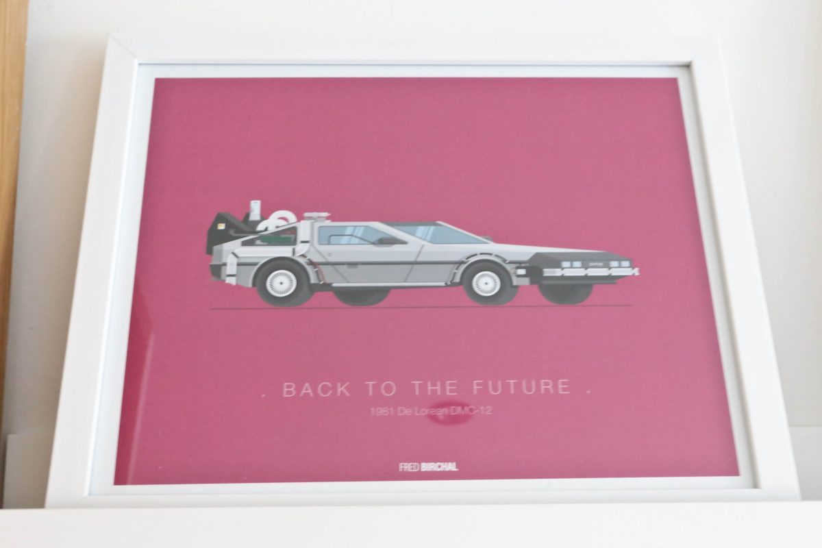 Back to the Future print from Homesense Finished Gallery wall using Ikea Mosslanda Picture ledges