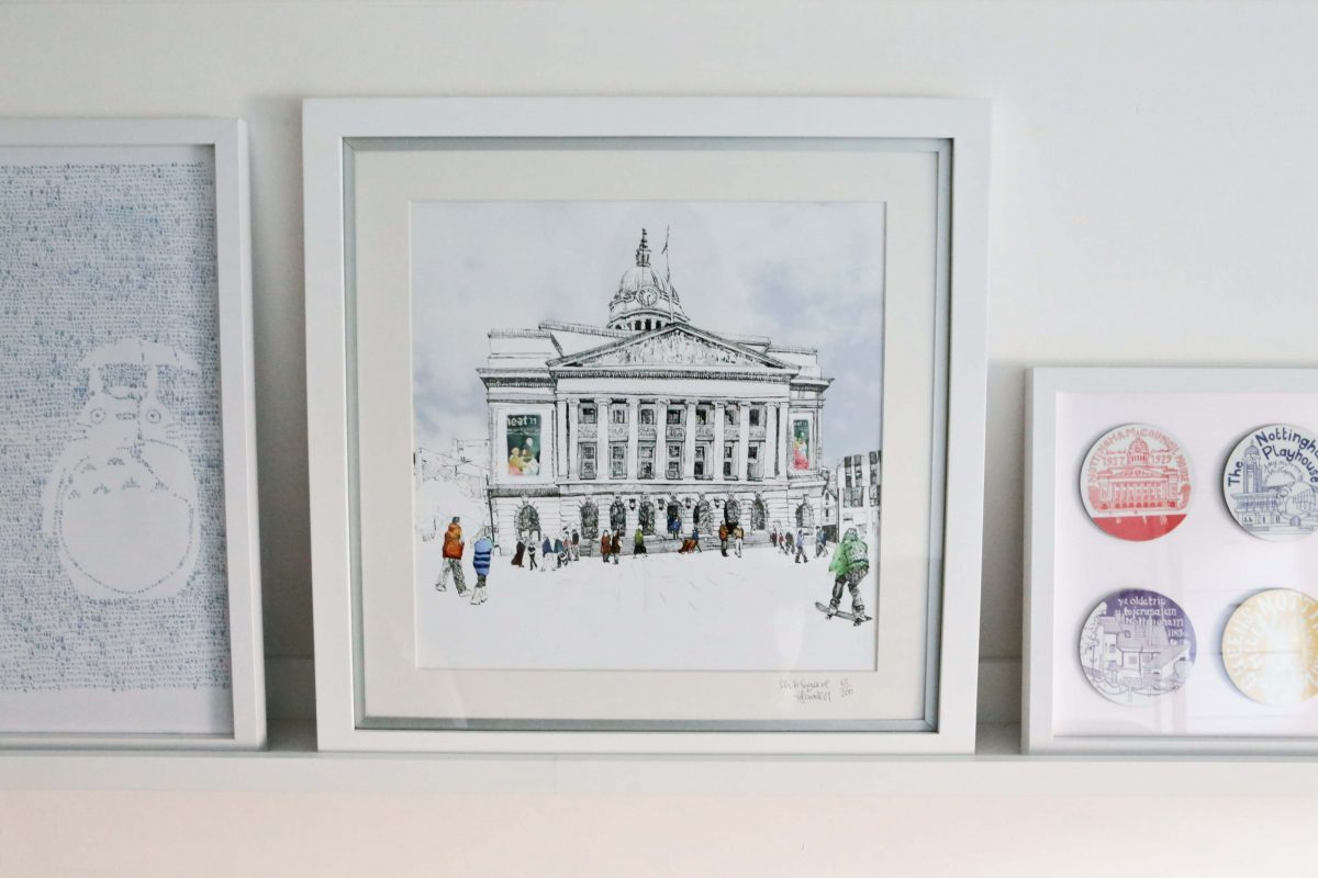 My birthday present. A beautiful limited edition print by Nottingham Artist Hannah Sawtell is central on my Finished Gallery wall using Ikea Mosslanda Picture ledges