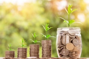 Coins in piles getting higher and higher with green shoots of growth above illustrate how savings can grow in the long-term with stocks and shares ISA