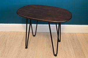 DIY Retro Side Table - The finished table varnished in walnut