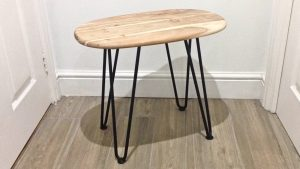 DIY Retro Side Table Table on hairpin legs prior to varnishing - unfinished wood