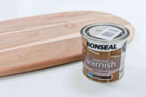 DIY retro side table - Bread board and Ronseal interior varnish