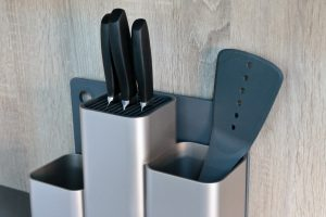 Joseph Joseph CounterStore Kitchen Worktop Organiser Closeup of knives and utensils