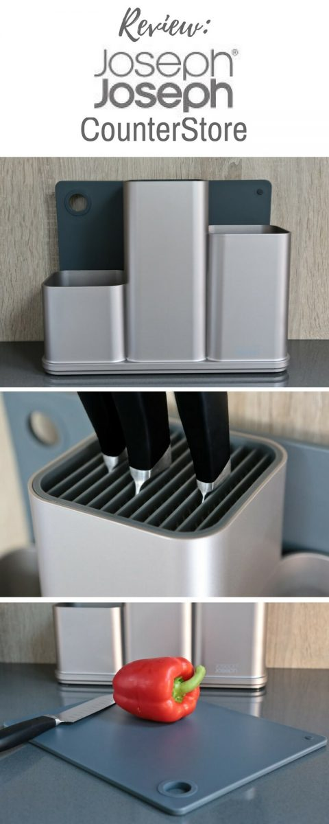 Review of Joseph Joseph CounterStore Kitchen Worktop Organiser from Harts of Stur. An all-in-one utensil holder, knife block and chopping board